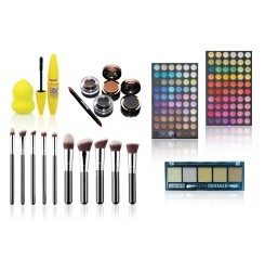 Set machiaj complet pensule, mascara, beauty blender, corector, 120 farduri mate