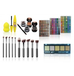 Set machiaj pensule, mascara, beauty blender, corector, 180 farduri