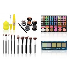 Set machiaj complet pensule, mascara, beauty blender, corector, 78 farduri